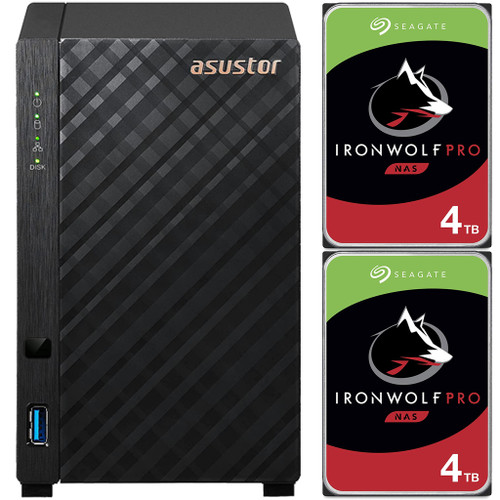Asustor AS1102T 2-Bay Drivestor 2 NAS with 1GB RAM and 8TB (2x4TB) Seagate Ironwolf PRO Drives Fully Assembled and Tested
