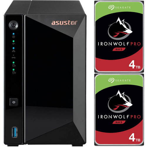 Asustor AS3302T 2-Bay Drivestor 2 PRO NAS with 2GB RAM and 8TB (2x4TB) Seagate Ironwolf PRO Drives Fully Assembled and Tested