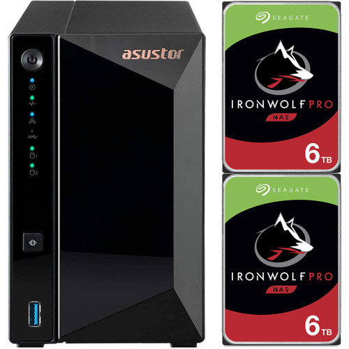 Asustor AS3302T 2-Bay Drivestor 2 PRO NAS with 2GB RAM and 12TB (2x6TB) Seagate Ironwolf PRO Drives Fully Assembled and Tested