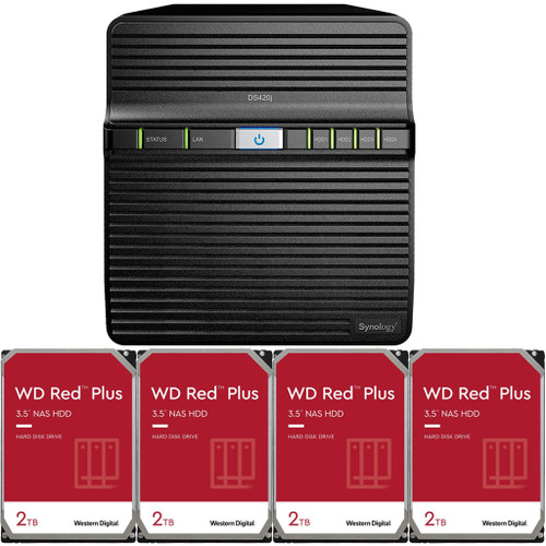 Synology DS420j 4-BAY DiskStation with 8TB (4 x 2TB) of Western Digital RED Plus Drives Fully Assembled and Tested