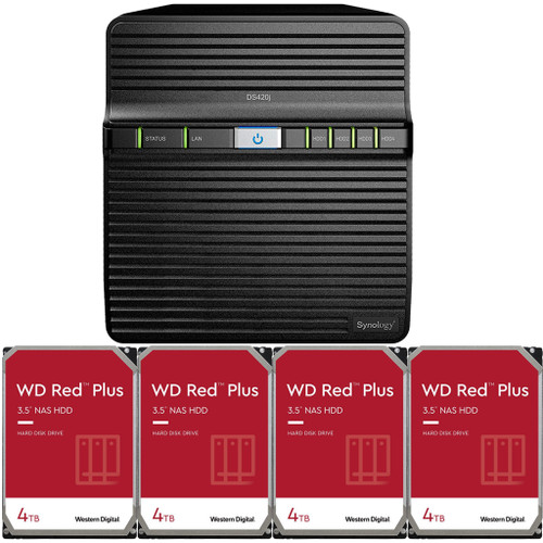 Synology DS420j 4-BAY DiskStation with 16TB (4 x 4TB) of Western Digital RED Plus Drives Fully Assembled and Tested