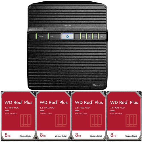 Synology DS420j 4-BAY DiskStation with 32TB (4 x 8TB) of Western Digital RED Plus Drives Fully Assembled and Tested