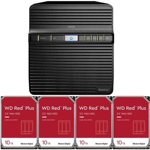Synology DS420j 4-BAY DiskStation with 40TB (4 x 10TB) of Western Digital RED Plus Drives Fully Assembled and Tested