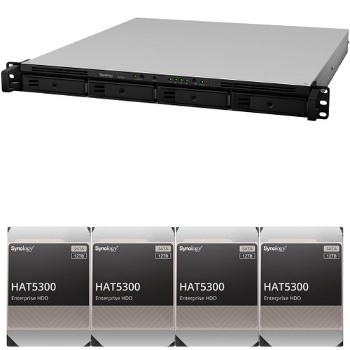 RS820+ 4-Bay RackStation with 2GB RAM and 48TB (4 x 12TB) HAT5300 Synology Enterprise Drives Fully Assembled and Tested