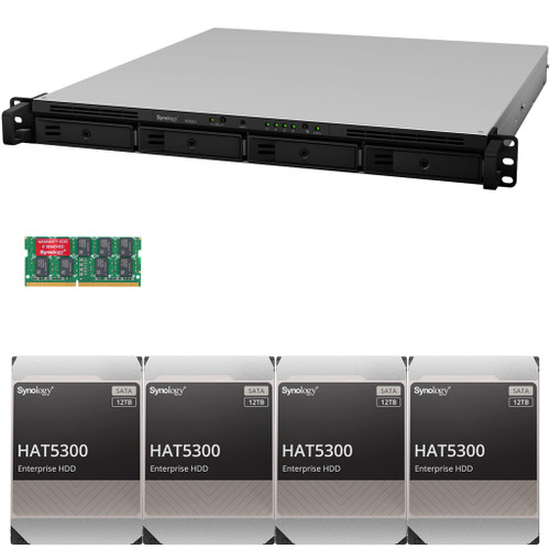 RS820+ 4-Bay RackStation with 18GB RAM and 48TB (4 x 12TB) HAT5300 Synology Enterprise Drives Fully Assembled and Tested