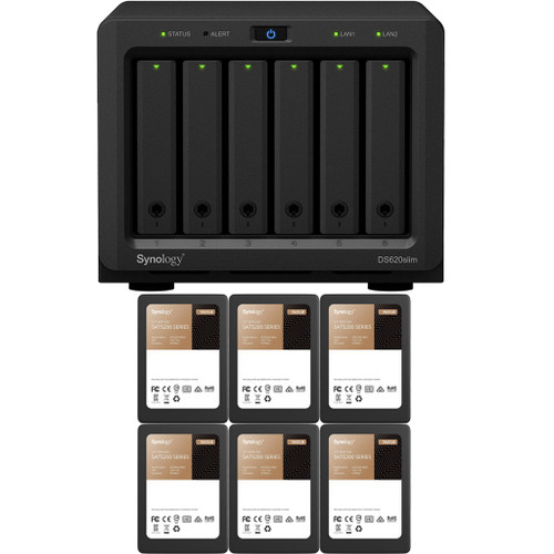 Synology DS620slim 6-BAY DiskStation with 2GB RAM and 5.76TB (6 x 960GB) of Synology Enterprise SSDs Fully Assembled and Tested