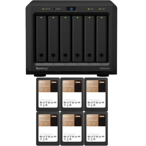Synology DS620slim 6-BAY DiskStation with 2GB RAM and 11.52TB (6 x 1920GB) of Synology Enterprise SSDs Fully Assembled and Tested