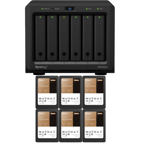 Synology DS620slim 6-BAY DiskStation with 2GB RAM and 23.04TB (6 x 3840GB) of Synology Enterprise SSDs Fully Assembled and Tested