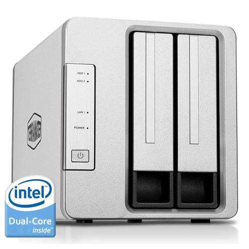 TerraMaster F2-221 NAS 2-Bay Cloud Storage with 2GB RAM and 6TB (2 x 3TB) of Western Digital Red Plus Drives Fully Assembled and Tested