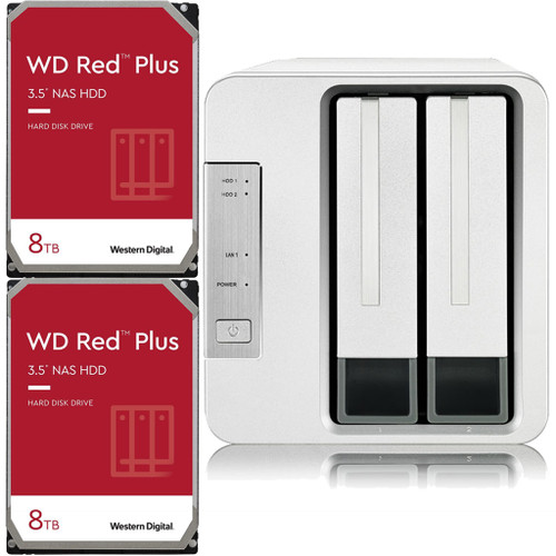 TerraMaster F2-221 NAS 2-Bay Cloud Storage with 2GB RAM and 16TB (2 x 8TB) of Western Digital Red Plus Drives Fully Assembled and Tested