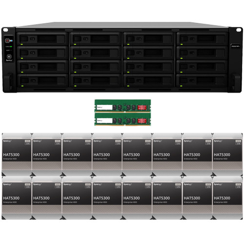 RS2821RP+ 16-BAY RackStation with 32GB RAM and 192TB (16 x 12TB) of HAT5300 Synology Enterprise Drives