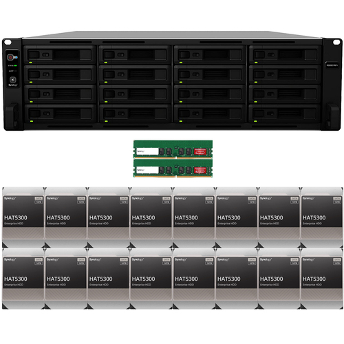 RS2821RP+ 16-BAY RackStation with 32GB RAM and 256TB (16 x 16TB) of HAT5300 Synology Enterprise Drives