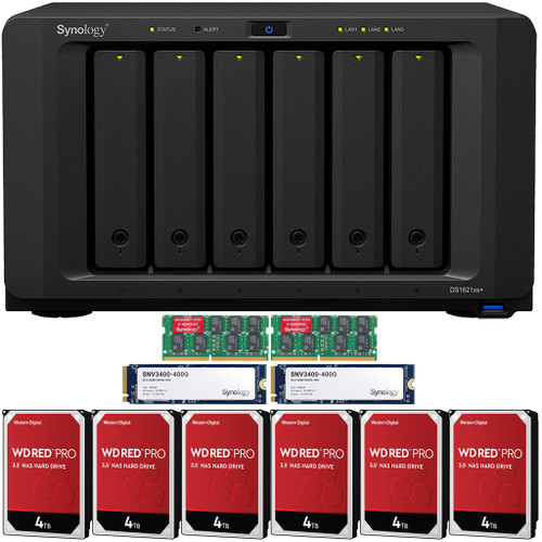 Synology DS1621xs+  6-BAY High Performance DiskStation NAS with 16GB Synology RAM, 800GB (2x400GB) Synology Cache and 24TB (6x4TB) Western Digital Red Pro NAS Drives Fully Assembled and Tested