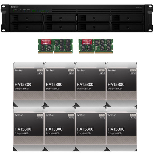 Synology RS1221RP+ RackStation with 32GB RAM and 128TB (8 x 16TB) of HAT5300 Synology Enterprise Drives Fully Assembled and Tested