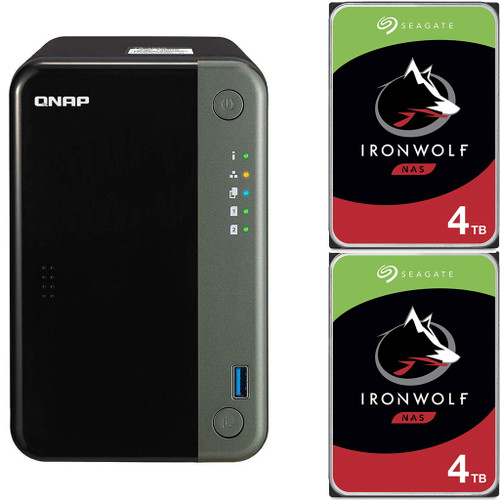 QNAP TS-253D Quad Core 2.7Ghz 2-Bay NAS with 4GB RAM and 8TB (2 x 4TB) of Seagate Ironwolf NAS Drives Fully Assembled and Tested By CustomTechSales