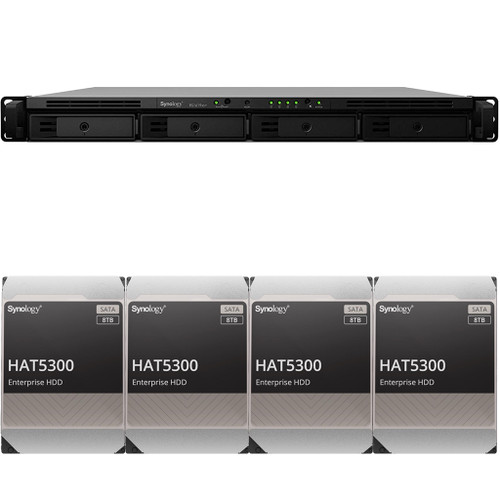 RS1619xs+ 4-BAY RackStation with 8GB RAM and 32TB (4 x 8TB) of HAT5300 Synology Enterprise Drives