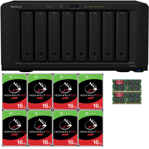 Synology DS1821+ 8-BAY DiskStation with 16GB Synology RAM and 128TB (8x16TB) Seagate Ironwolf PRO Drives Fully Assembled and Tested