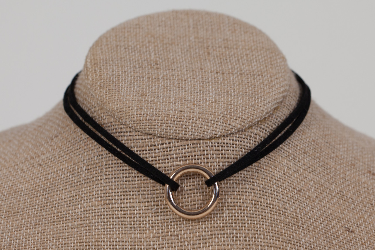 f9b67cf99995a Double Suede Choker with Gold Ring