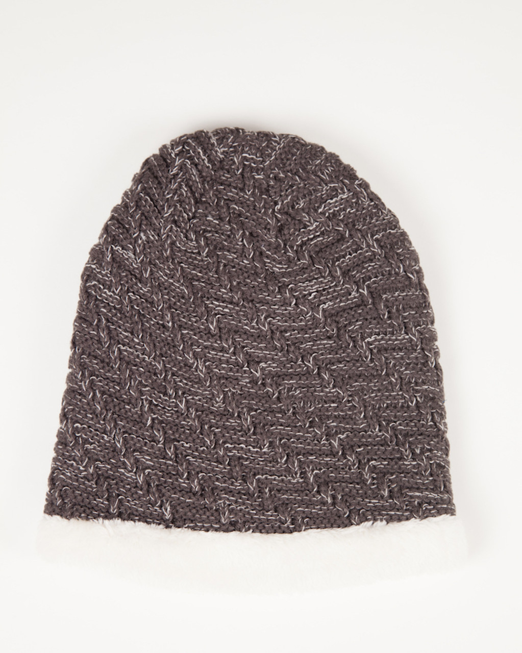 108b26ea10863 Faux Fur Lined Beanie Hat - Chocolate - Grace Oliver