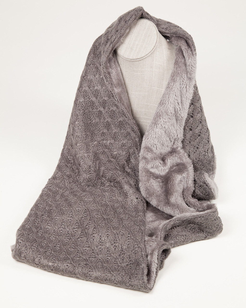 cfcef80684898 Fine Knit Infinity Scarf with faux fur lining - Gray - Grace Oliver