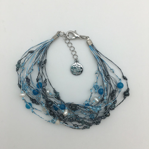 Silk Thread Turquoise and Charcoal Bracelet