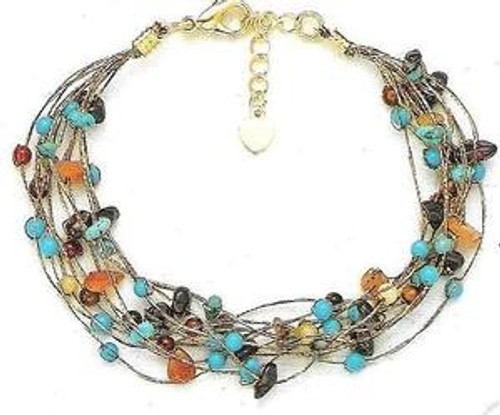 Silk Thread Turquoise and Brown Twist Bracelet