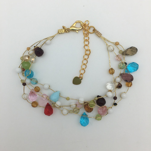 Multi Colored Faceted Glass on Silk Thread Bracelet in Gold