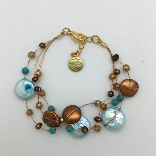Coin Pearl on Silk Thread Bracelet-Turquoise and Brown
