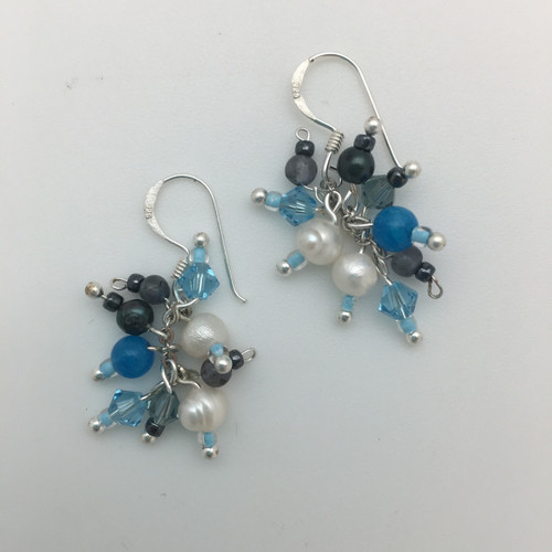 Turquoise and Charcoal Pearl and Crystal Earrings