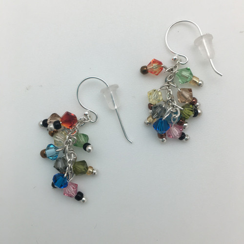 Multi Colored Crystal Earrings in Silver