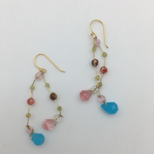 Faceted Glass Multi Colored Dangle Earrings in Gold