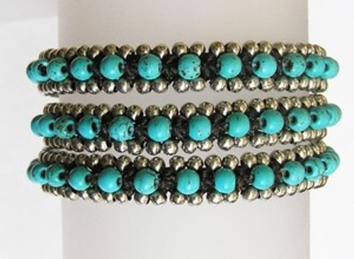 Turquoise Wrap Bracelet with Silver Beads: As Seen In Parade!