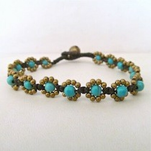 Turquoise Bracelet with Gold Beads