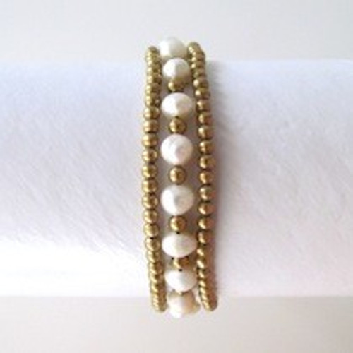 White Pearl Bracelet with Gold Beads