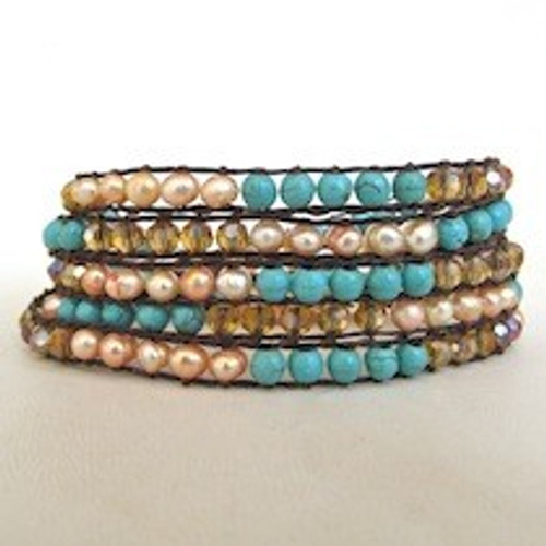 Turquoise Brown Beaded Wrap Bracelet