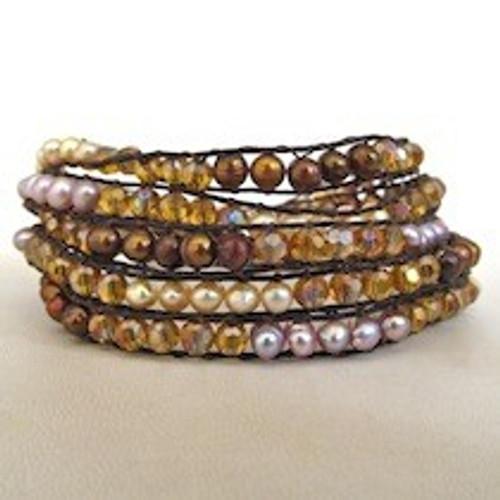 Multi-Gold Beaded Wrap Bracelet