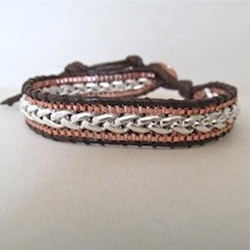 Copper Silver Leather Bracelet