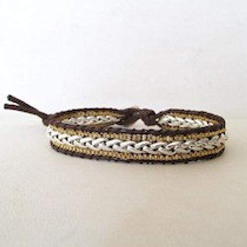 Gold & Silver Leather Bracelet