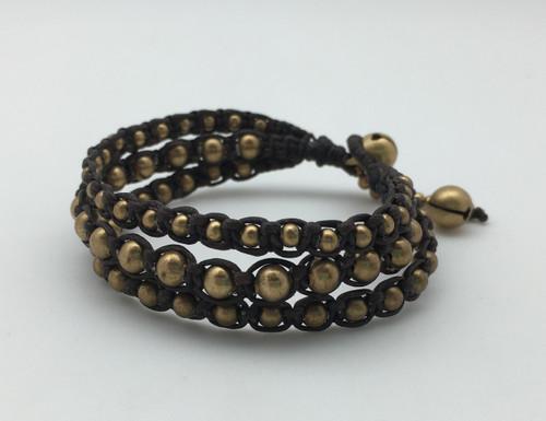 Gold Brown Leather Bracelet