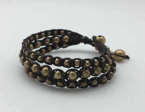 Gold Brown Leather Bracelet