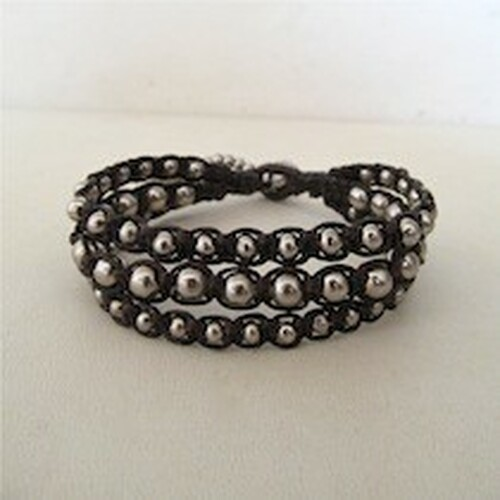 Silver Brown Leather Bracelet