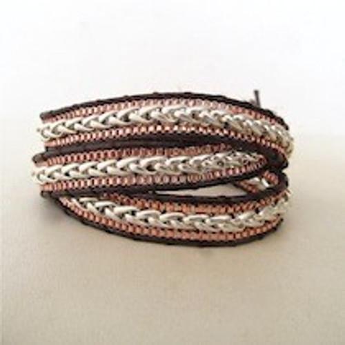 Copper & Silver Leather Wrap Bracelet