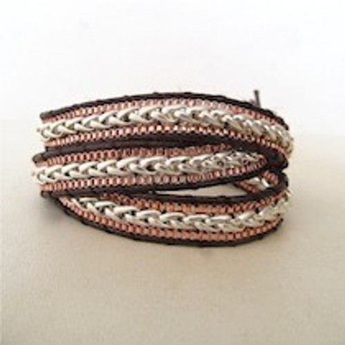 Copper & Silver Leather Wrap Bracelet