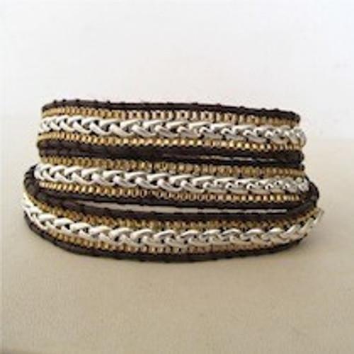 Gold & Silver Leather Wrap Bracelet
