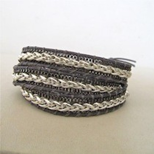 Black & Silver Leather Wrap Bracelet