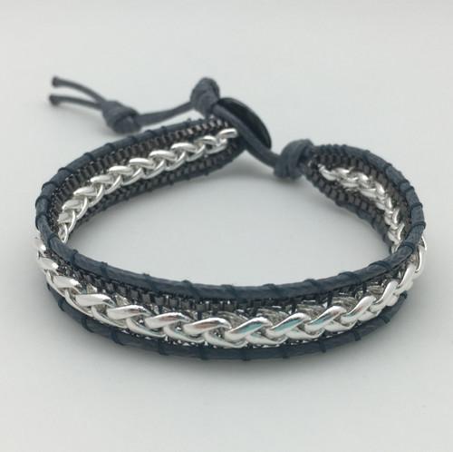 Grey & Silver Leather Bracelet