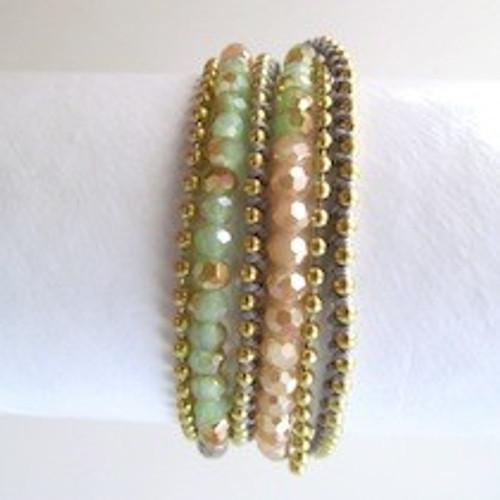 Peach Beaded Wrap Bracelet- Gold
