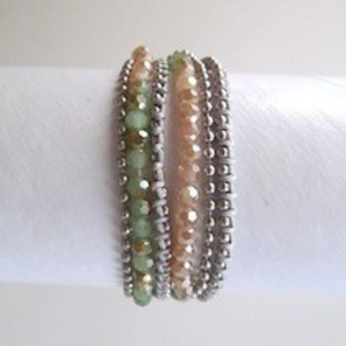 Peach Beaded  Wrap Bracelet-Silver