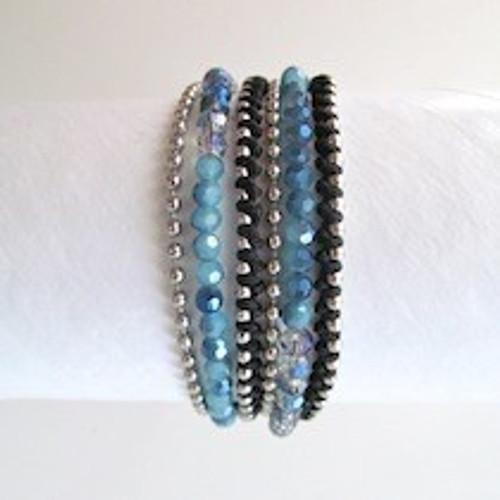 Blue Beaded Wrap Bracelet-Silver