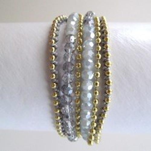 Charcoal Beaded Wrap Bracelet-Gold